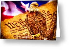 Bald Eagle With American Flag And Constitution Art Landscape Greeting Card