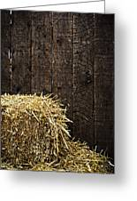 Bale Of Straw And Wooden Background Greeting Card