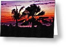 Bali Sunset Impasto Paint Version Greeting Card