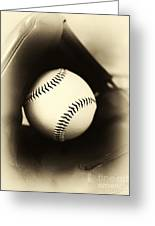 Ball In Glove Greeting Card by John Rizzuto