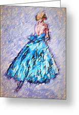 Ballerina In Blue Greeting Card