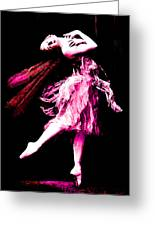 Ballerina Wings Pink Portrait Art Greeting Card