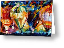 Balloon Parade - Palette Knife Oil Painting On Canvas By Leonid Afremov Greeting Card