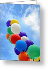 Balloons Against A Cloudy Sky Greeting Card