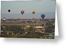 Balloons Over The Valley Greeting Card