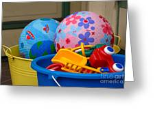 Balls And Toys In Buckets Greeting Card