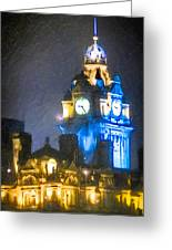 Balmoral Clock Tower On Princes Street In Edinburgh Greeting Card