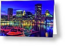 Baltimore Harbor By Night, Baltimore Greeting Card