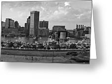 Baltimore Harbor Skyline Panorama Bw Greeting Card