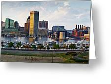Baltimore Harbor Skyline Panorama Greeting Card