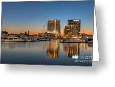 Baltimore Inner Harbor East Skyline At Dawn I Greeting Card
