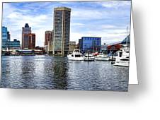 Baltimore Inner Harbor Marina Greeting Card by Olivier Le Queinec