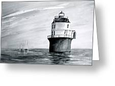 Baltimore Lighthouse In Gray  Greeting Card