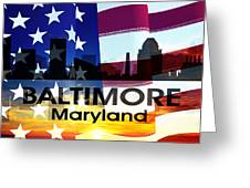Baltimore Md Patriotic Large Cityscape Greeting Card