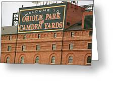 Baltimore Orioles Park At Camden Yards Greeting Card by Frank Romeo