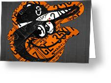 Baltimore Orioles Vintage Baseball Logo License Plate Art Greeting Card