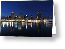 Baltimore Skyline At Dusk On The Inner Harbor Greeting Card