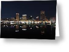 Baltimore Skyline At Night Greeting Card
