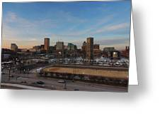 Baltimore Skyline At Sunset From Federal Hill Greeting Card