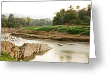 Bamboo Bridge At The Tip Of The Luang Greeting Card
