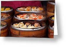 Bamboo Steamers With Dim Sum Dishes Greeting Card