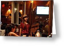 Band At Palaad Tawanron Restaurant - Chiang Mai Thailand - 01137 Greeting Card