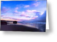 Bandon Beach Painted Sunset Greeting Card