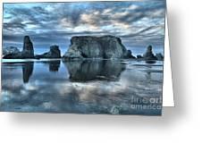 Bandon Beach Sunset Reflections Greeting Card