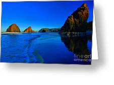 Bandon Blue And Gold Greeting Card by Adam Jewell