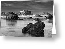 Bandon Sea Stacks Black And White Greeting Card