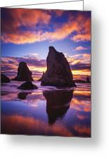 Bandon's Sunset Light Show Greeting Card