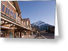 Banffs Main Street Banff Avenue At Dawn Greeting Card