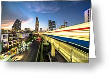 Bangkok Sky Train Rush Greeting Card