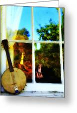 Banjo Mandolin In The Window Greeting Card