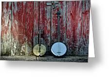 Banjos Against A Barn Door Greeting Card