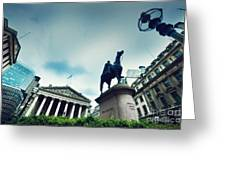 Bank Of England The Royal Exchange And The Wellington Statue Londonuk Greeting Card