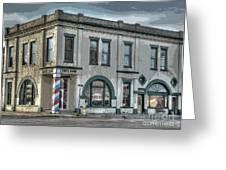 Bank To Barbershop Greeting Card by MJ Olsen