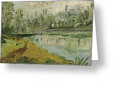 Banks Of The Saone River - Orig. Sold Greeting Card