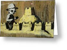 Banksy On The Beach Greeting Card