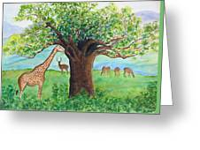 Baobab And Giraffe Greeting Card