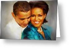 Barack And Michelle Greeting Card by Wayne Pascall