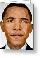 Barack Obama Greeting Card by Samuel Majcen