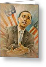 Barack Obama Taking It Easy Greeting Card by Miki De Goodaboom