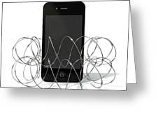 Barbed Wire Protected Smartphone Greeting Card by Allan Swart