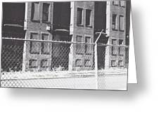 Barbed Wire Rowhouses Greeting Card