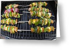 Barbeque Kabobs On Grill Greeting Card