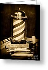 Barber - Barber Pole - Black And White Greeting Card