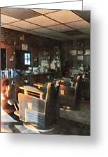 Barber - Barber Shop With Sun Streaming Through Window Greeting Card