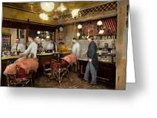Barber - L.c. Wiseman Barbershop Ny 1895 Greeting Card