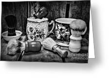 Barber - Shaving Mugs And Brushes In Black And White Greeting Card